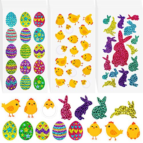 Chick Pack (Leinuosen 500 Pieces Easter Egg Bunny Chick Shinny Stickers Easter Eggs Fillers, 30 Sheets (Easter Egg Chick Bunny))