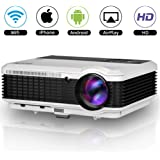 EUG HD 1080p LED Proyector WiFi WXGA 1280x800 Resolucion Multimedia Cine en Casa con USB HDMI VGA Audio LCD Android Proyectores Airplay para iPad TV PC PS4( Inglés Manual)