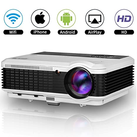 EUG HD 1080p LED Proyector WiFi WXGA 1280x800 Resolucion Multimedia Cine en Casa con USB HDMI VGA Audio LCD Android Proyectores Airplay para iPad TV ...
