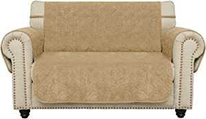 Ameritex Waterproof Loveseat Cover Coral Fleece Furniture Protector Anti-Slip Updated Pattern Supper Soft and Warm Pet Sofa Cover for Dogs and Children (Sand, Loveseat)
