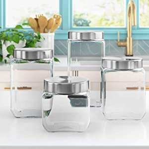 4pc Square Canister Sets for Kitchen Counter or Bathroom + Labels & Marker, Glass Cookie Jars with Airtight Lids - Food Storage Containers with Lids for Pantry - Flour, Sugar, Coffee, Cookies, etc.