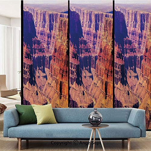 AngelSept Window Films Privacy Decorate,Grand Canyon in Arizona with Base Elevations North American Sublime Tribal Landscape,W15.7xL63in,for Home Office,Brown