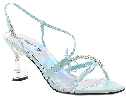 d8198104d13d Fourever Funky Clear Jeweled Strappy Blue Low Heel Slide Womens Heels - 5.5
