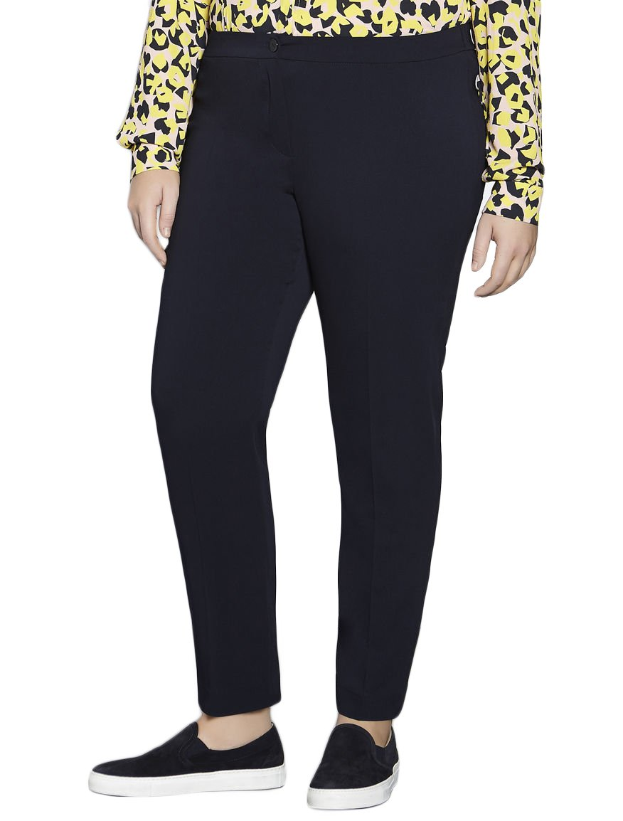 Marina Rinaldi Women's Rame Fleece Wool Pants 18W / 27 Navy