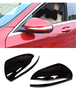 Left Hand Drive ABS Chrome Plastic Car Rearview Mirror Cap Cover Trim Piano Black for Mercedes