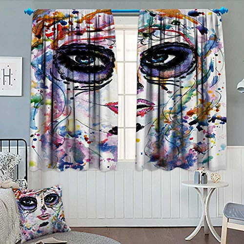 Anhounine Sugar Skull,Blackout Curtain,Halloween Girl with Sugar Skull