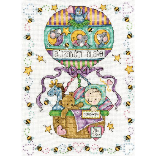 """Balloon Ride Birth Record Counted Cross Stitch Kit-11""""X14"""" 14 Count T21769"""