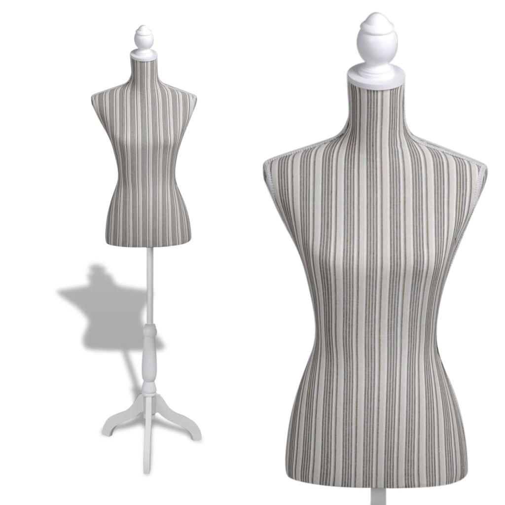 vidaXL Female Mannequin Bust Window Torso Dress Form Display Linen Stripe &Tripod Stand