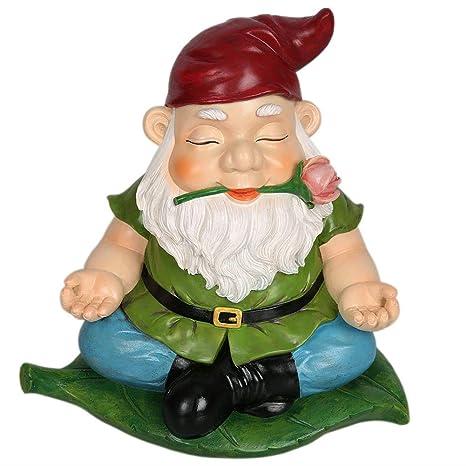 CCOQUS Zen Gnome Garden Statue,Yoga Gnome Figurine   Outdoor Lawn Patio  Fairy Garden Decor