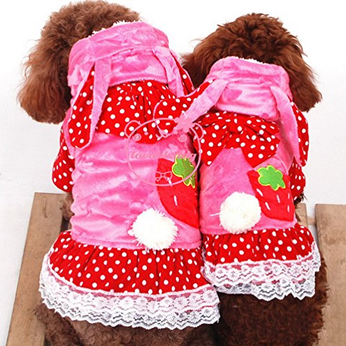 [SELMAI Small Girl Dog Dresses Hooded Pet Costumes Bunny Dots Princess Dog Clothes Lace Fleece Coat Pink] (Mean Girls Bunny Halloween Costume)
