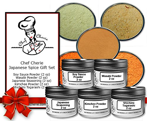 Chef Cherie's Japanese Spice Gift Set-Contains 5 2 oz. Tins