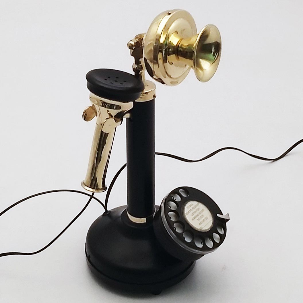 Antique Reproduction Candle stick Nickel Plated Working Telephone Home Decor. (Black) Handmade