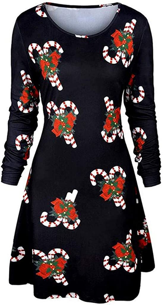 Mnyycxen Women Casual Christmas Candy Print Long Sleeve Mini Dress Round Neck Knee Length Flare Hem Dress