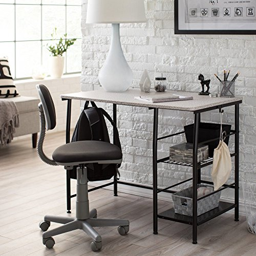 2 Piece Kids Study Laminated Wood Desk and Ergonomic Chair with Two Large Side Storage Shelves in Blackl/Gray Finish by Calico Designs