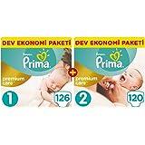 Prima Bebek Bezi Premium Care Yenidoğan Aylık Fırsat Paketi (1 Beden 126 Adet + 2 Beden 120 Adet),