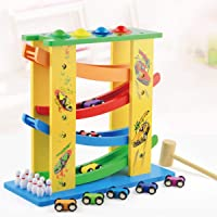 SN Toy Zone Wood 3 in 1 Multi Combination of Domino Slippery 4 Track Race Playsets Set with 8 Mini Racers, 4 Ball, 10 Bowling Balls with 1 Gel Pen