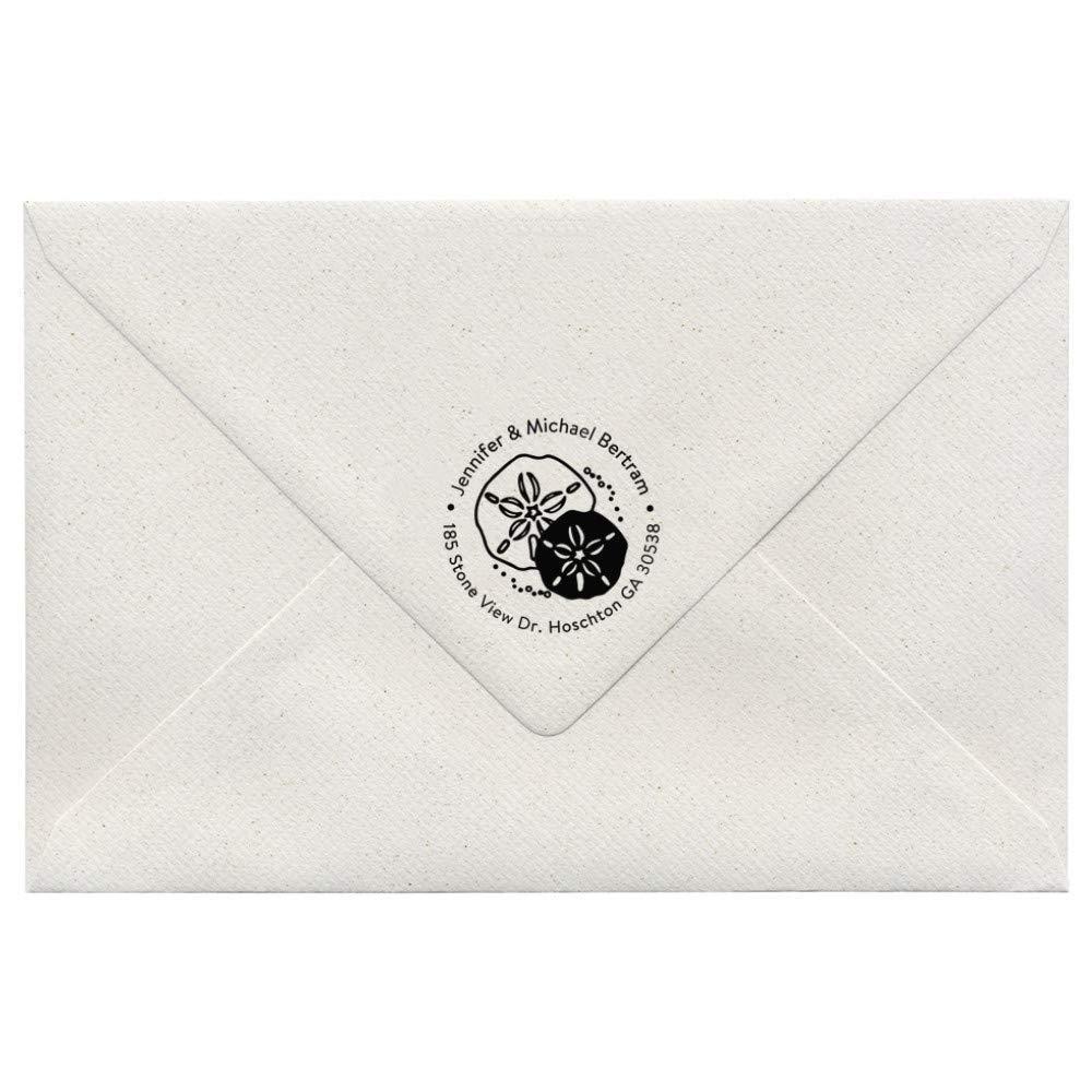 Sand Dollar Sea Shell Product Sanddollar Ocean Design Custom Round Return Address Stamp