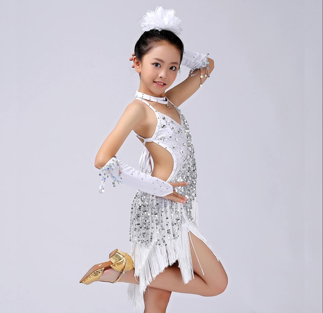 Blanc Costume de Danse Latine pour Les Enfants de Filles Enfants Danse Latine Costume de Danse de Perforhommece compétition Blanc Jaune   Rose Rouge Rouge   Bleu Noir XL