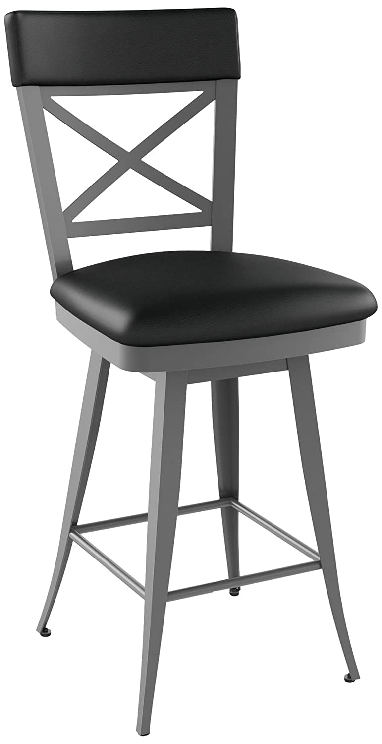 amazoncom amisco windsor swivel metal barstool with backrest 30inch kitchen u0026 dining