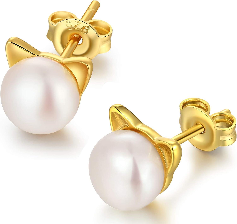 Pendientes con perlas cultivadas en agua dulce y plata de ley con cierre a presión, diseño de gato