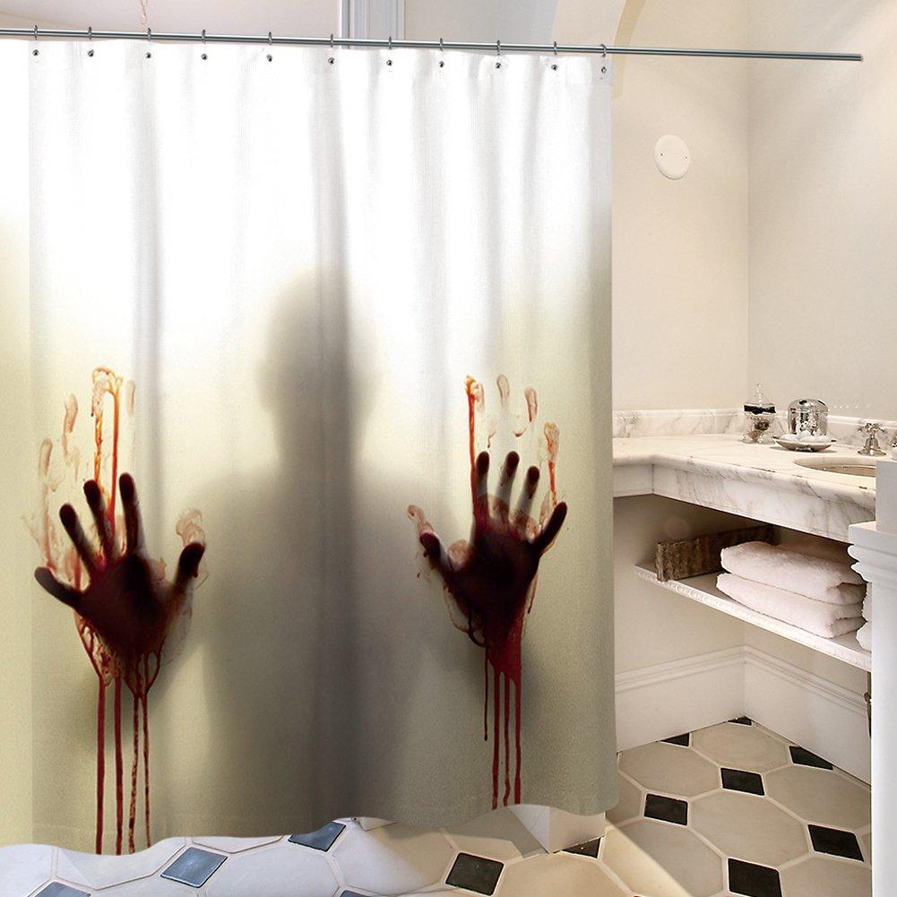QCWN Help Me Scary Bloody Mains Silhouette Ombre Rideau de Douche Définit avec Weird Bloody Shadow on avec de l'eau et à la moisissure Resitance et Gratuit Crochets, Polyester, 1, 65 x 70 65 x 70