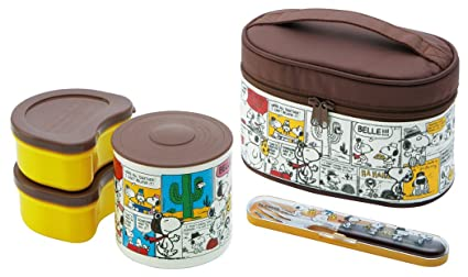 b36e60deb916 Snoopy Thermal Bento Lunch Box Set (3 Food Containers, Fork & Bag) by Skater
