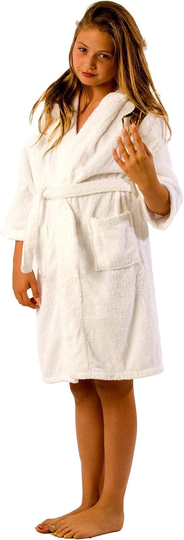 Luxury Girls Robe Size Small White 100/% Natural Terry Child Robes Pre-Shrunk Terry Robe Hooded Kids Bathrobe Unisex Boys Boys Robe