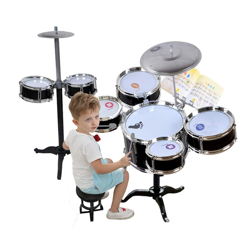 LIUFS-Trommel Schlagzeug Kinder Schläge Musikinstrumente Musik Training Jazz Drum Geschenke Jungen Und Mädchen Schlagen Spielzeug (Farbe   Rosa, größe   C) SchwarzB