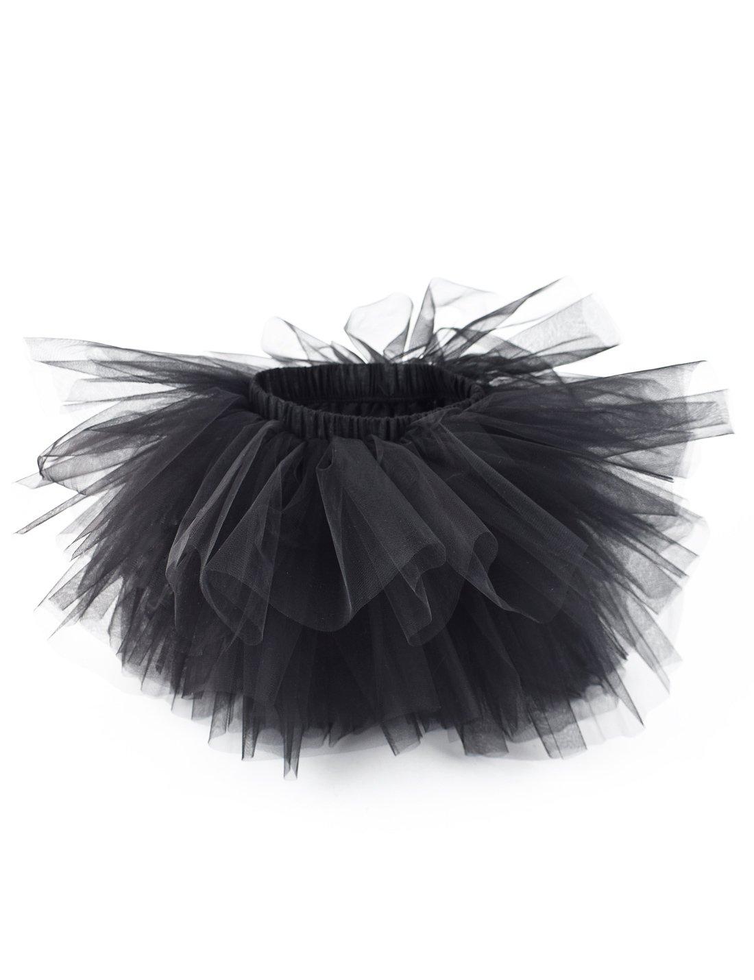 tortoiserabbit Girl's 6-Layered Ballet Tutu Fluffy Tulle Aerobarre Dancing Petticoat Puffy Skirt Black M