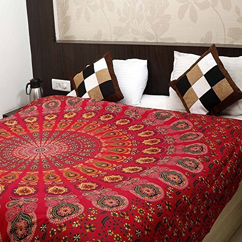 Bless International Indian hippie Bohemian Psychedelic Peacock Mandala Wall hanging Bedding Tapestry (Golden Red, King(88x104Inches)(225x265Cms)) (Red Hanging)