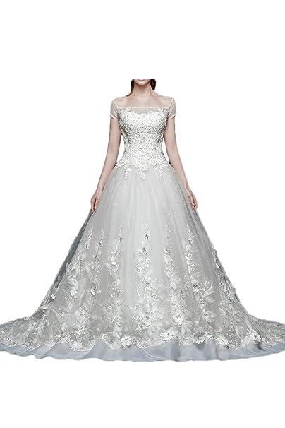 Gorgeous Novia Floral Encaje princesa off-Shoulder boda tren vestidos de novia vestido de novia