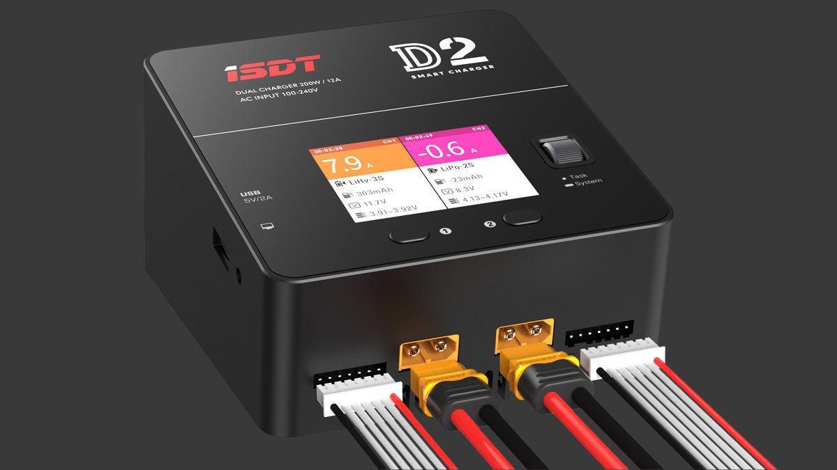 ISDT D2 Dual Channel 200W 20A AC Batterie Balance Charging Ladegerät EU Stecker
