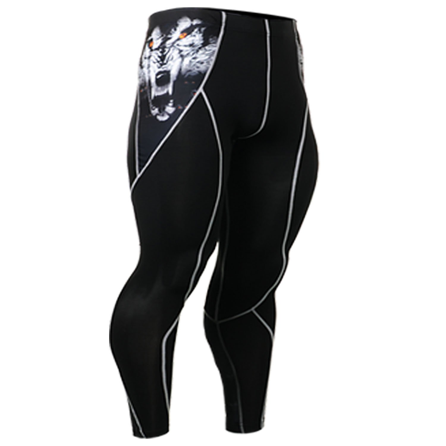 Fixgear Mens Womens Tights Compression Wolf Printed Skin Running Pants