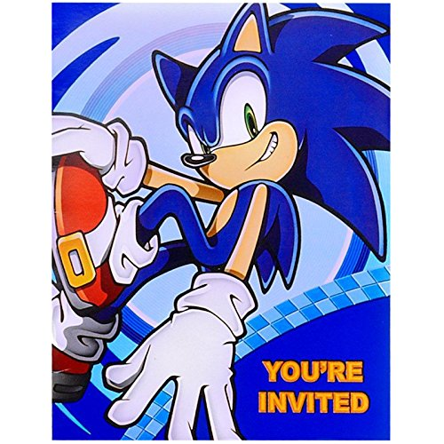 BirthdayExpress Sonic The Hedgehog Party Supplies - Invitations (8) -