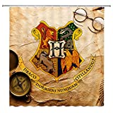 AMNYSF Four College Emblems Harry Potter Hogwarts Magic School Vintage Yellow Background Decor Shower Curtain,70x70 Inches Waterproof Polyester Fabric Bathroom Accessories Curtains with 12pcs Hooks