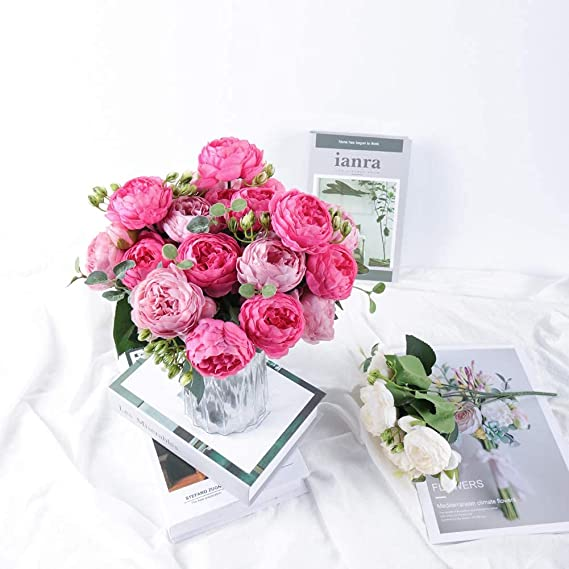 Details about  /1 Bundle Silk Peony Bouquet Artificial Roses Flowers Home Decoration Accessories