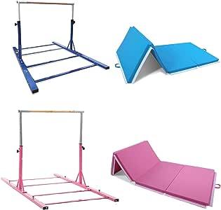 Advanced Gymnastic High Bar w/Gym Mat Fibreglass Horizontal Bar Training Kip Bar Long Base