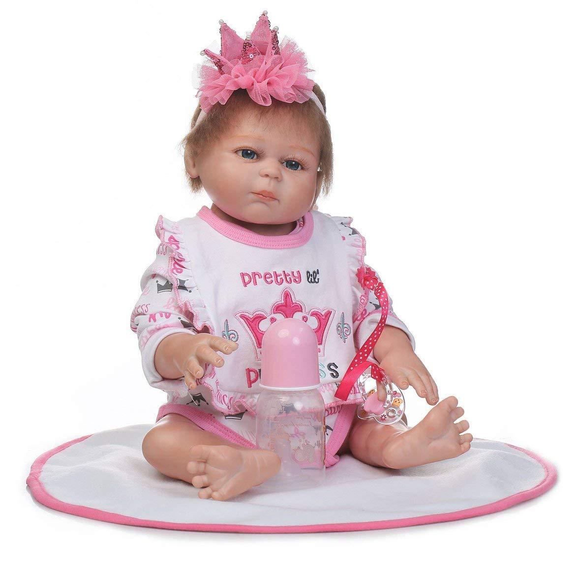 Kongqiabona 18 Zoll Offenen Augen Kinder Reborn Baby Puppe Weiche Silikon Lebensechte Neugeborene Puppe Mädchen Geburtstagsgeschenk Für Kinder Mädchen
