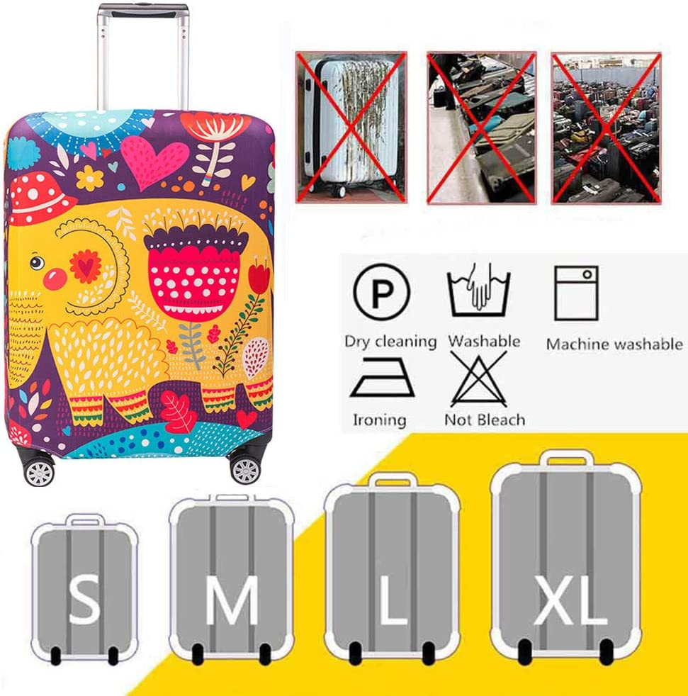 HBWZ Elastic Waterproof Dustproof Travel Luggage Suitcase Protective Cover Trolley Baggage Protector for 18-32 Inch Luggage,B,S
