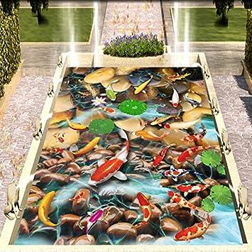 LHDLily Lotus Galets 3D Peinture Sol Étanche Carp Épaissie Salle De ...