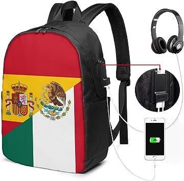 Mochila Unisex con Puerto de Carga USB, Bandera de España y México ...