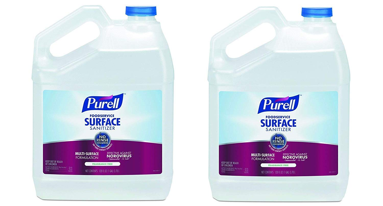 PURELL Foodservice Surface Sanitizer, Fragrance Free, 1 Pour Gallon EPA Certified Surface Sanitizer - 4341-04 (Pack of 2)