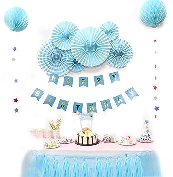 SUNBEAUTY Decoration Anniversaire Garcon Happy Birthday Bleu avec