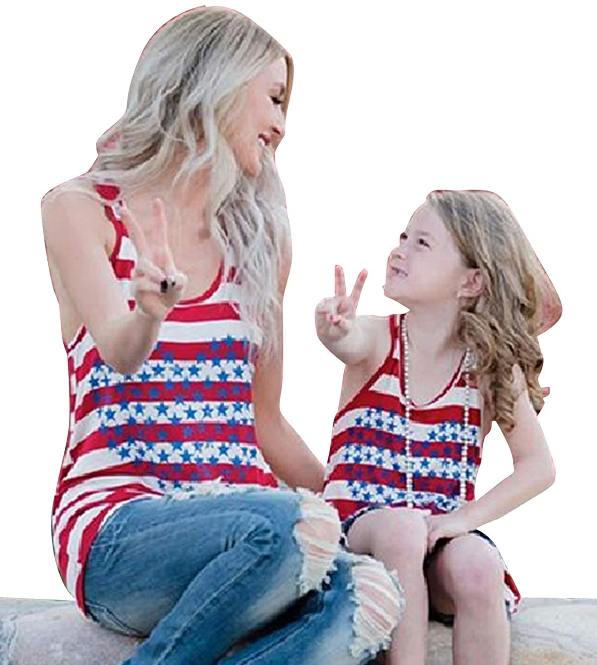 4th of July Mommy and Me Tank Tops Family Matching American Flag Star Printed Sleeveless Summer Loose Vest