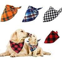 Afufu Gepersonaliseerde hondenhalsband, hondensjaal, 4 stuks, geruite driehoekig slabbetjes, halsdoek, hondenhalsband…