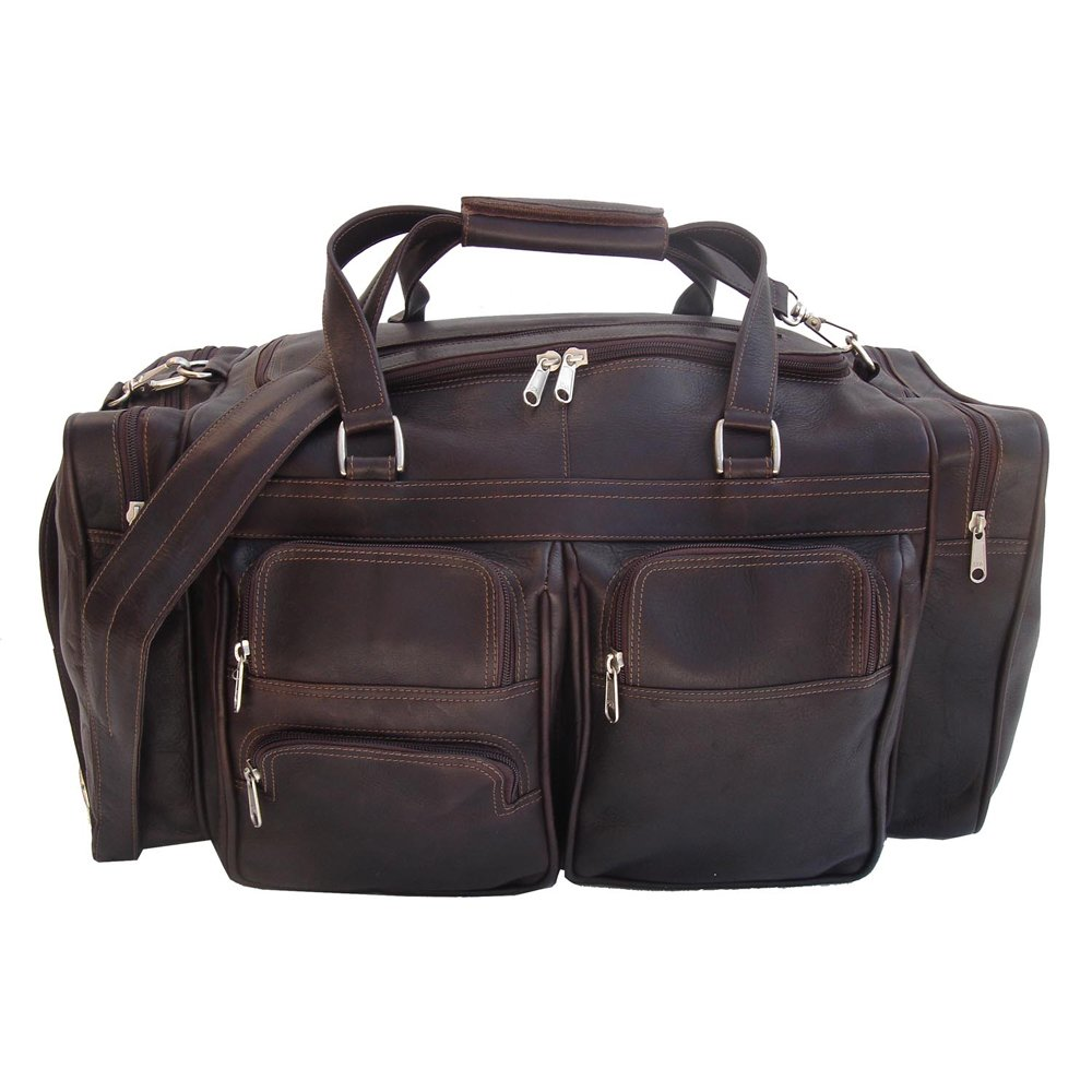 Piel Leather 20In Duffel Bag with Pockets, Chocolate, One Size