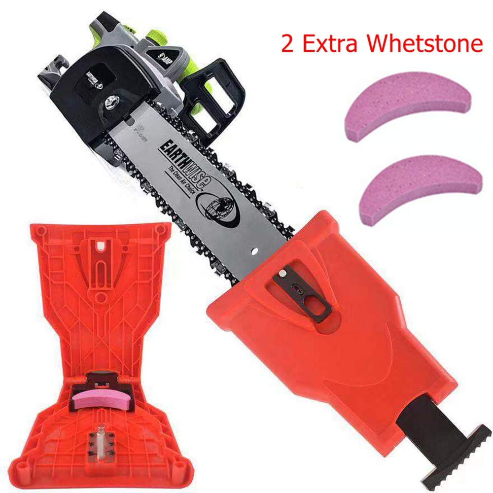 ZCAI Chainsaw Sharpener,Easy Chainsaw Sharpener Chainsaw Teeth Sharpening Kit for 14/16/18/20 Inch Two Holes Chain Saw Bar (2 Extra Whetstone) (Red) by ZCAI