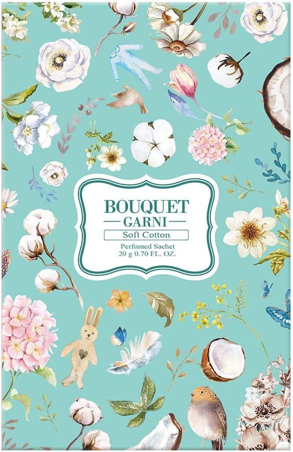 Bouquet Garni Sachet Soft Cotton 2 Count 20g Each - Long Lasting Rich Fragrance - Room and Closet Deodorizer Freshener for Home - Closet Odor Eliminator - Silk Layon Overlaid Packing Technique