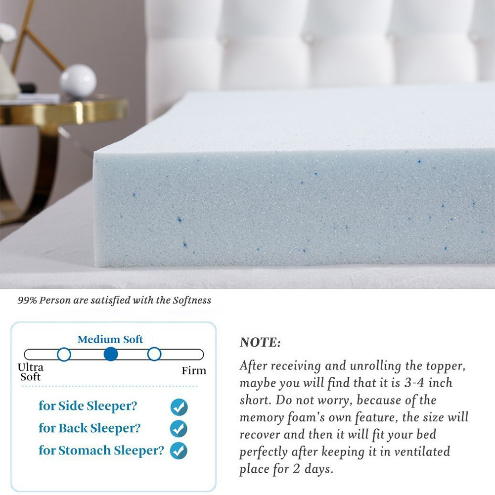 Comfort Relax 2 Gel-Infused Memory Foam Mattress Topper, Plush Cover, AirCell-Tech, Cal King