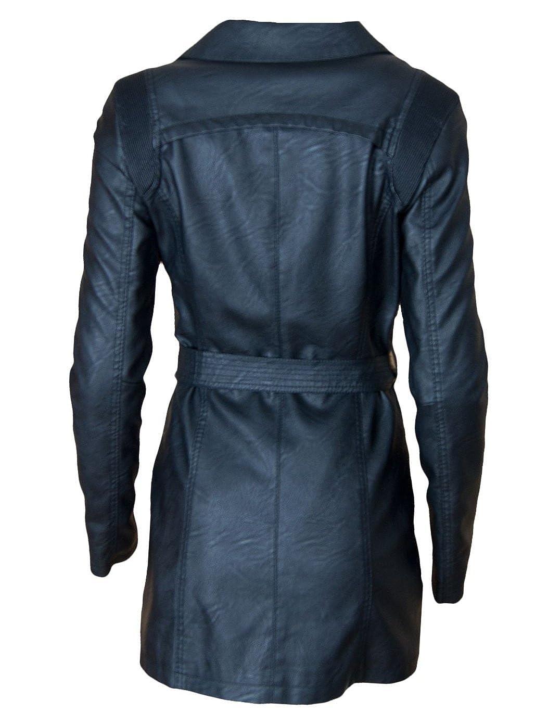 Schwarz Damen Mantel in Trenchcoat Top Kunstleder mit Gürtel K3T15lJucF